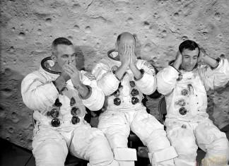 L'equipaggio dell'apollo 10: Eugene Cernan, Thomas Stafford e John Watts Young