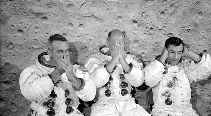 L'equipaggio dell'apollo 10: Eugene Cernan, Thomas Stafford e John Watts Young