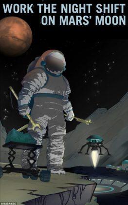 Lavoro notturno sulla luna di Marte