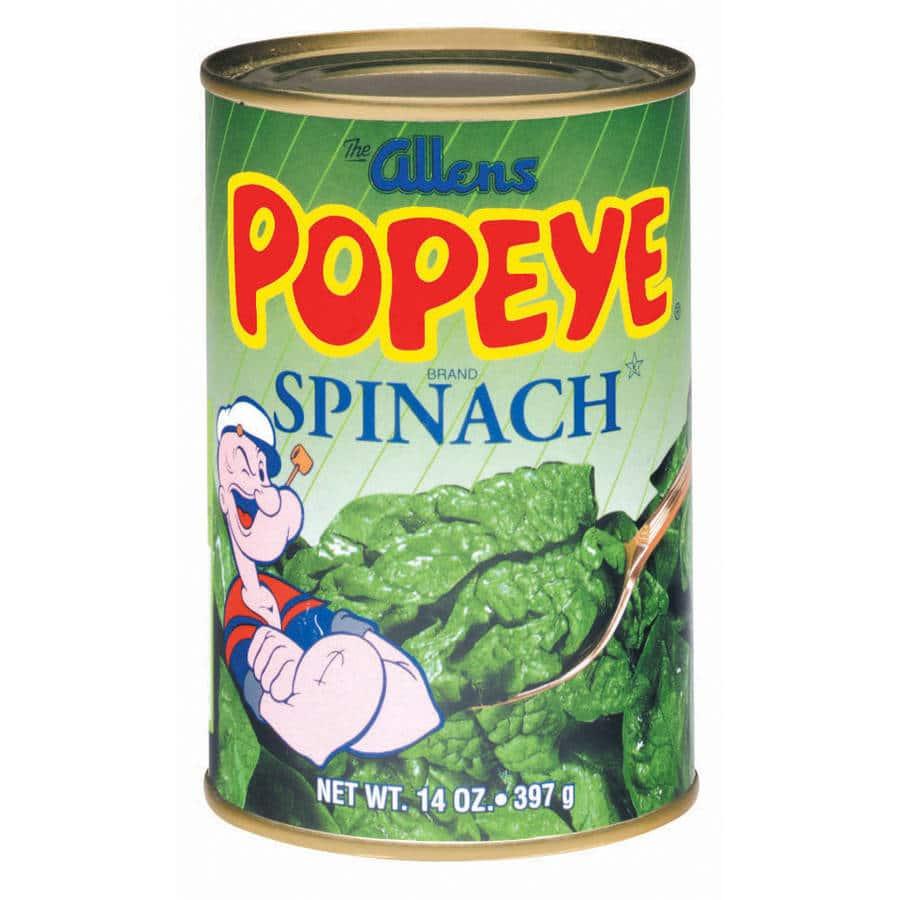 Popeye su un barattolo di spinaci
